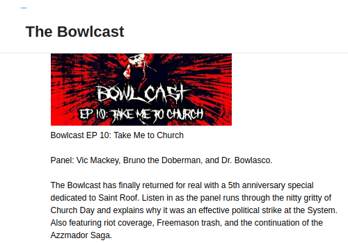"A promotion for an episode of ""The Bowlcast"" on Telegram"