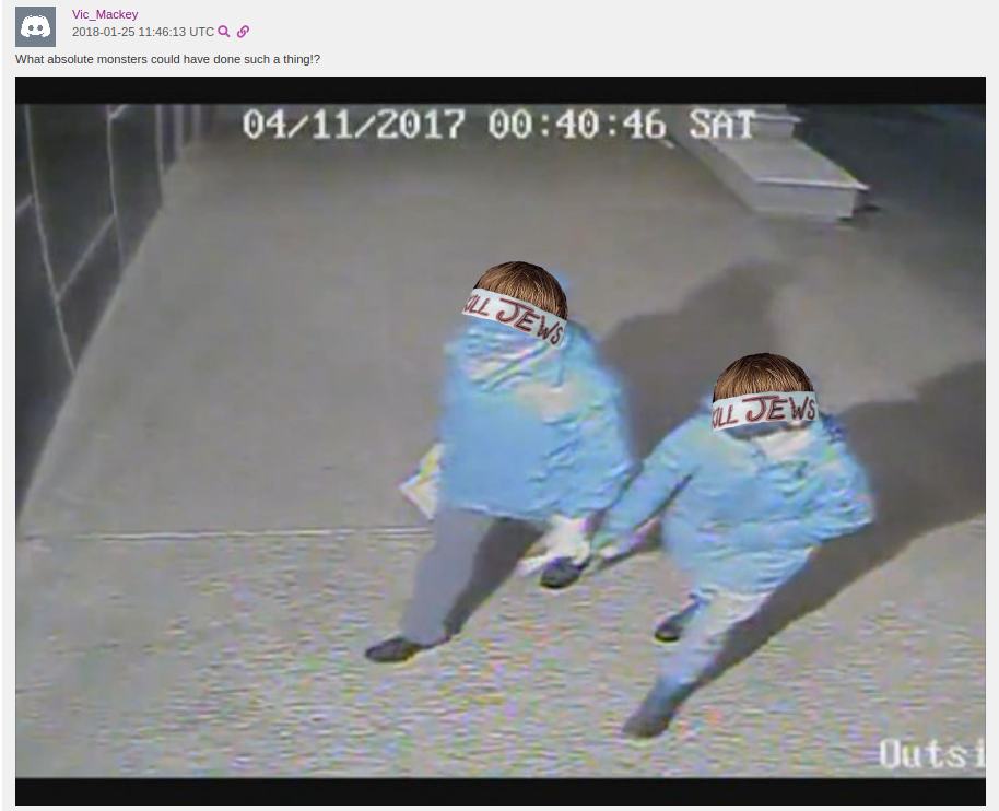 "Altered security footage posted by ""Vic Mackey"""