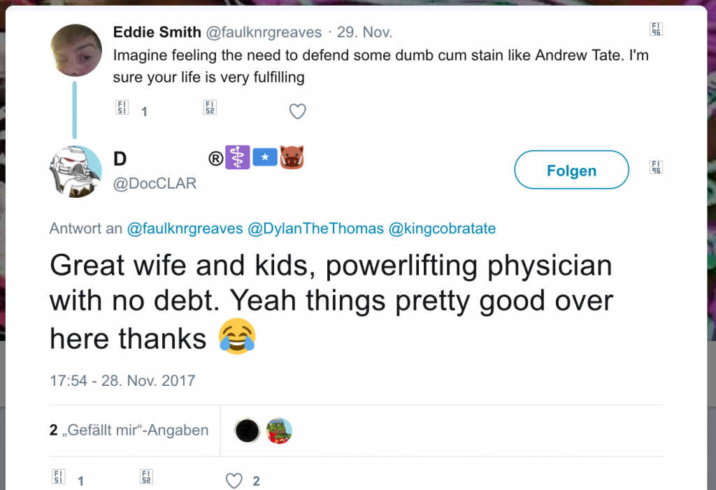 Great wife and kids, powerlifting physician with no debt. Yeah things pretty good over here thanks