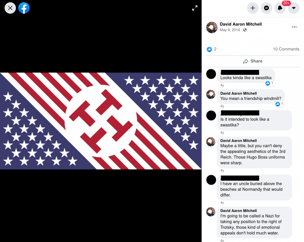 Facebook post by David Aaron Mitchell hinting at Fascist leanings.