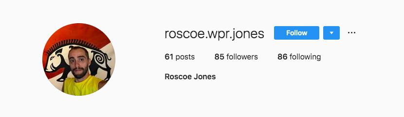 """Roscoe""'s Instagram profile."