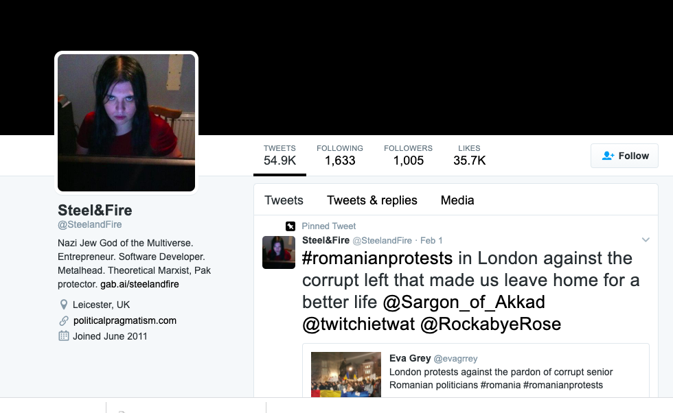 """Screenshot of a now-suspended Twitter account """"@SteelandFire"""""""