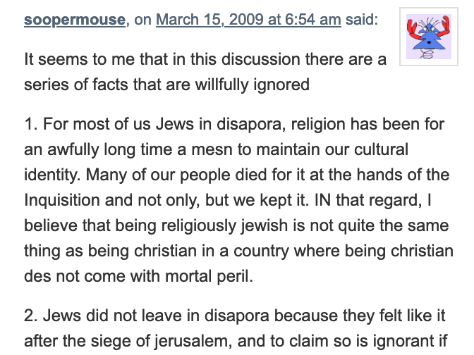 Another comment made on a blog [archive link].