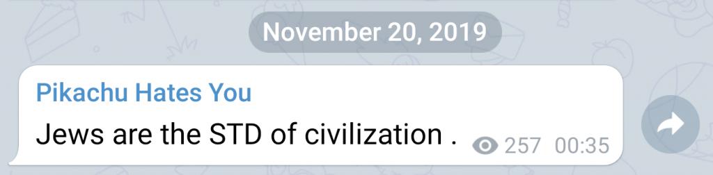"Post on Telegram messenger by ""PIkachu."""