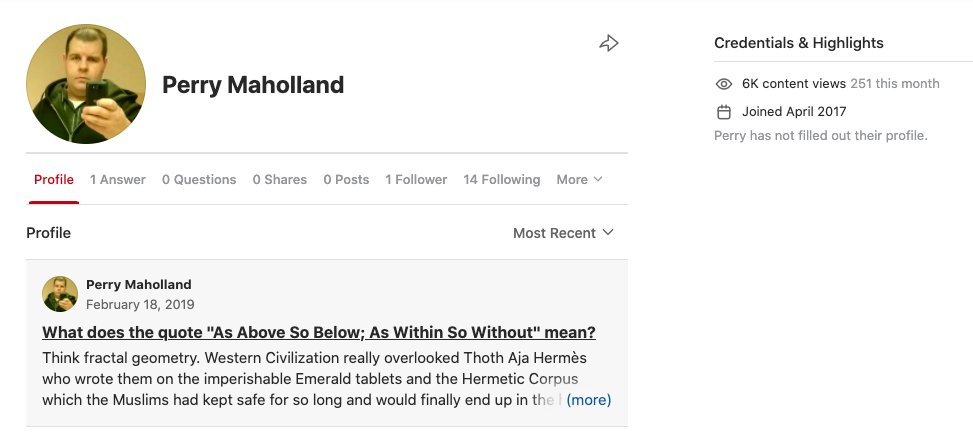 Perry Maholland Jr's profile on the Q&A site Quora.