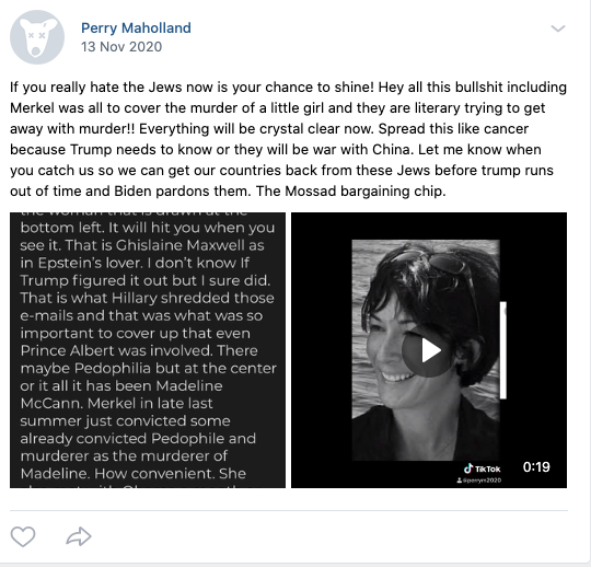 Antisemitic conspiracy theories are an obsessions with Maholland. Pictured above is a post from his profile on VK.com.
