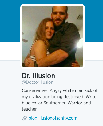 """""""Doctor Illusion"""" pictured with """"Lady Misogyny"""" on a Twitter profile."""