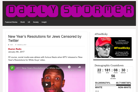 Illusion Radio promoted on The Daily Stormer website.