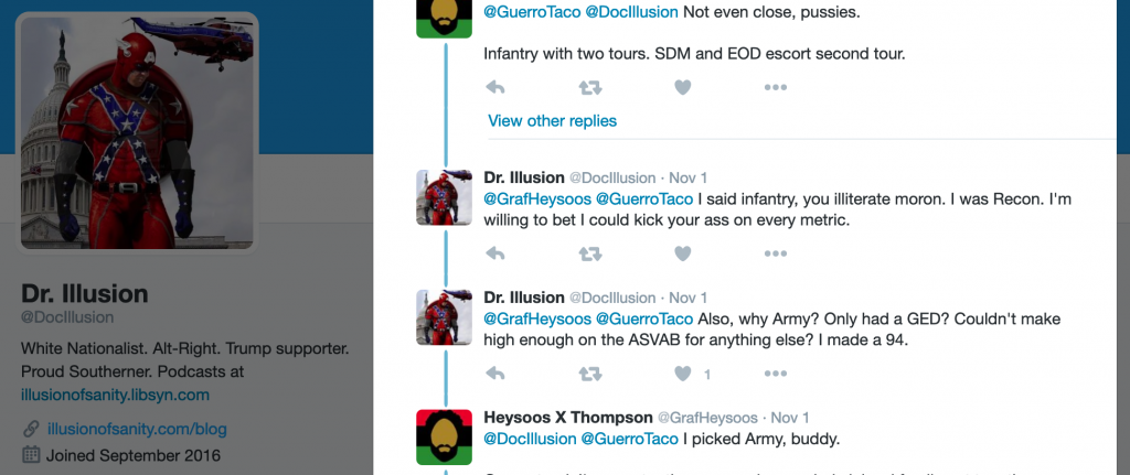"""Langham writing as """"@DocIllusion"""" on Twitter claims to have been a """"recon"""" marine"""