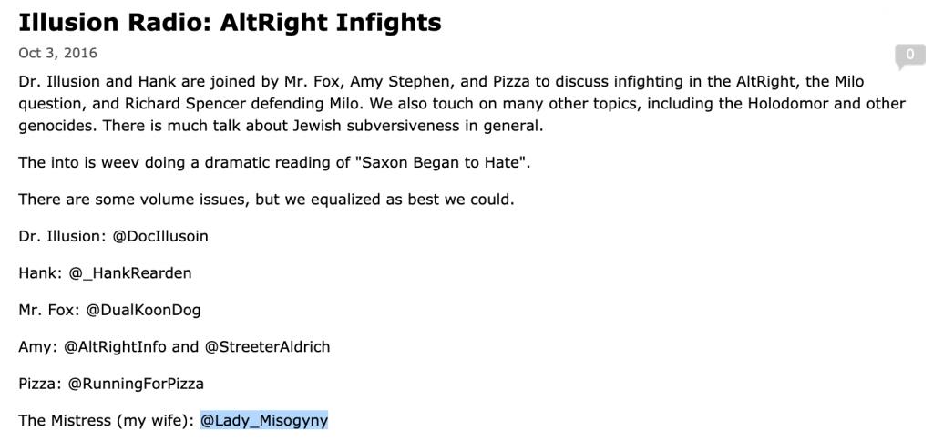 """Lady Misogyny"" listed on ""Illusion Radio"" show notes."