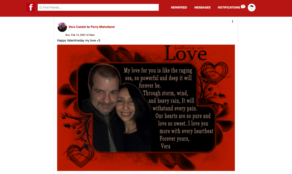 Valentine's Day e-card from Vera Castiel to Perry Maholland Jr. on Fuhrernet.