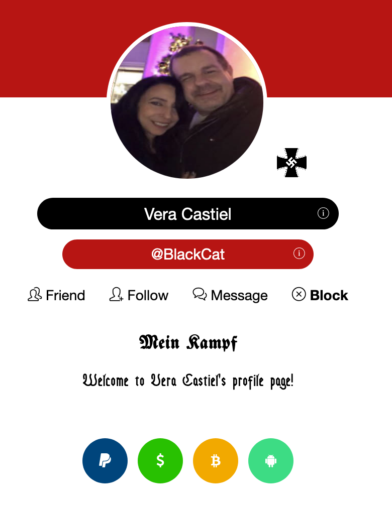 "Maholland's girlfriend ""Vera Castiel"" has a Fuhrernet profile too."