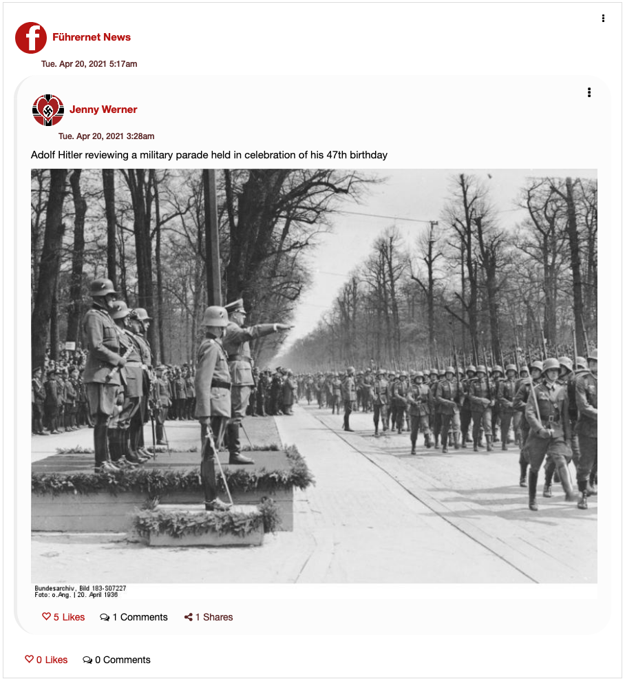 Fuhrernet post featuring a photo of Hitler and Nazi soldiers.