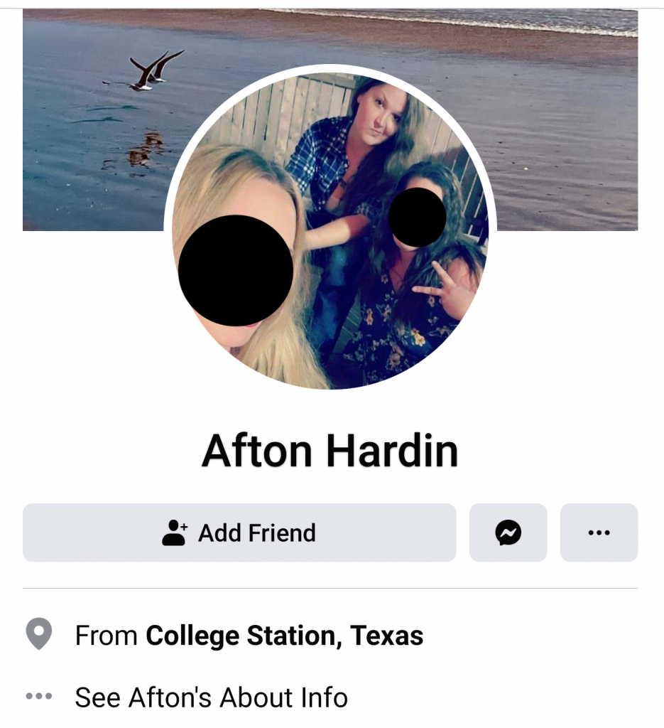 Afton Hardin's Facebook page.
