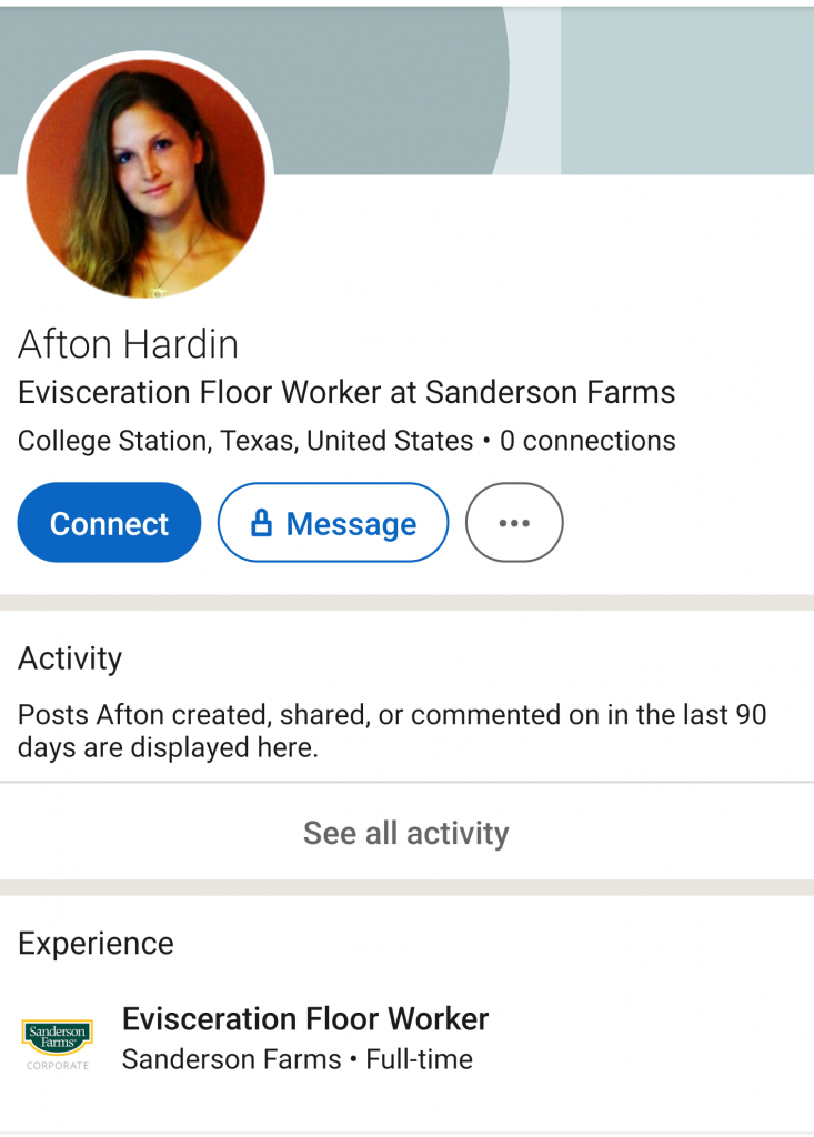 Afton Hardin's public LinkedIn profile.