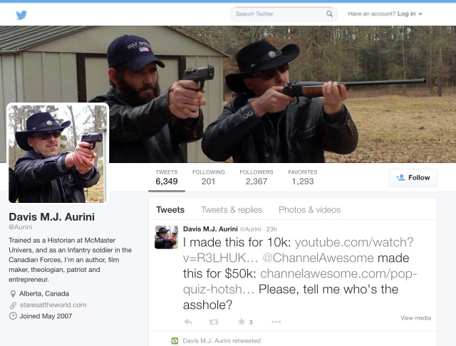 Not an ad for a crappy straight-to-video buddy cop movie, but Brandon Langham (L) and Davis Aurini (R) posing with guns on Aurini's Twitter profile.