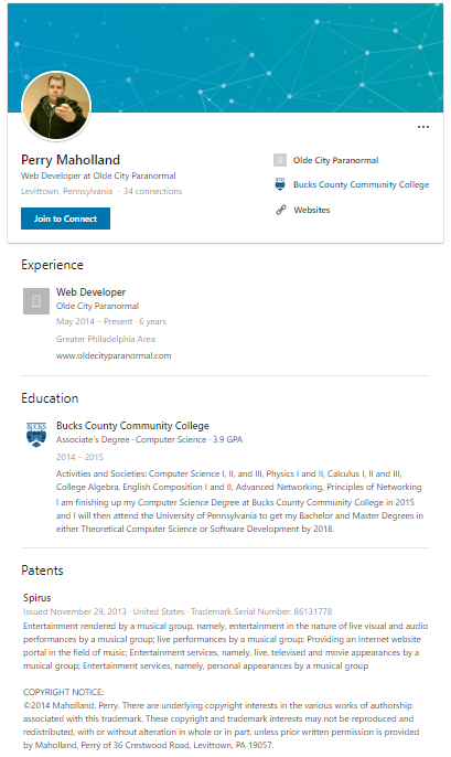 Perry Maholland Jr's LinkedIn profile.