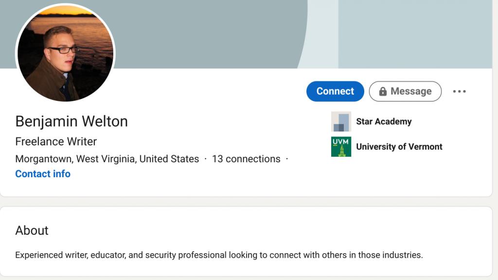 Benjamin Welton's public LinkedIn profile.