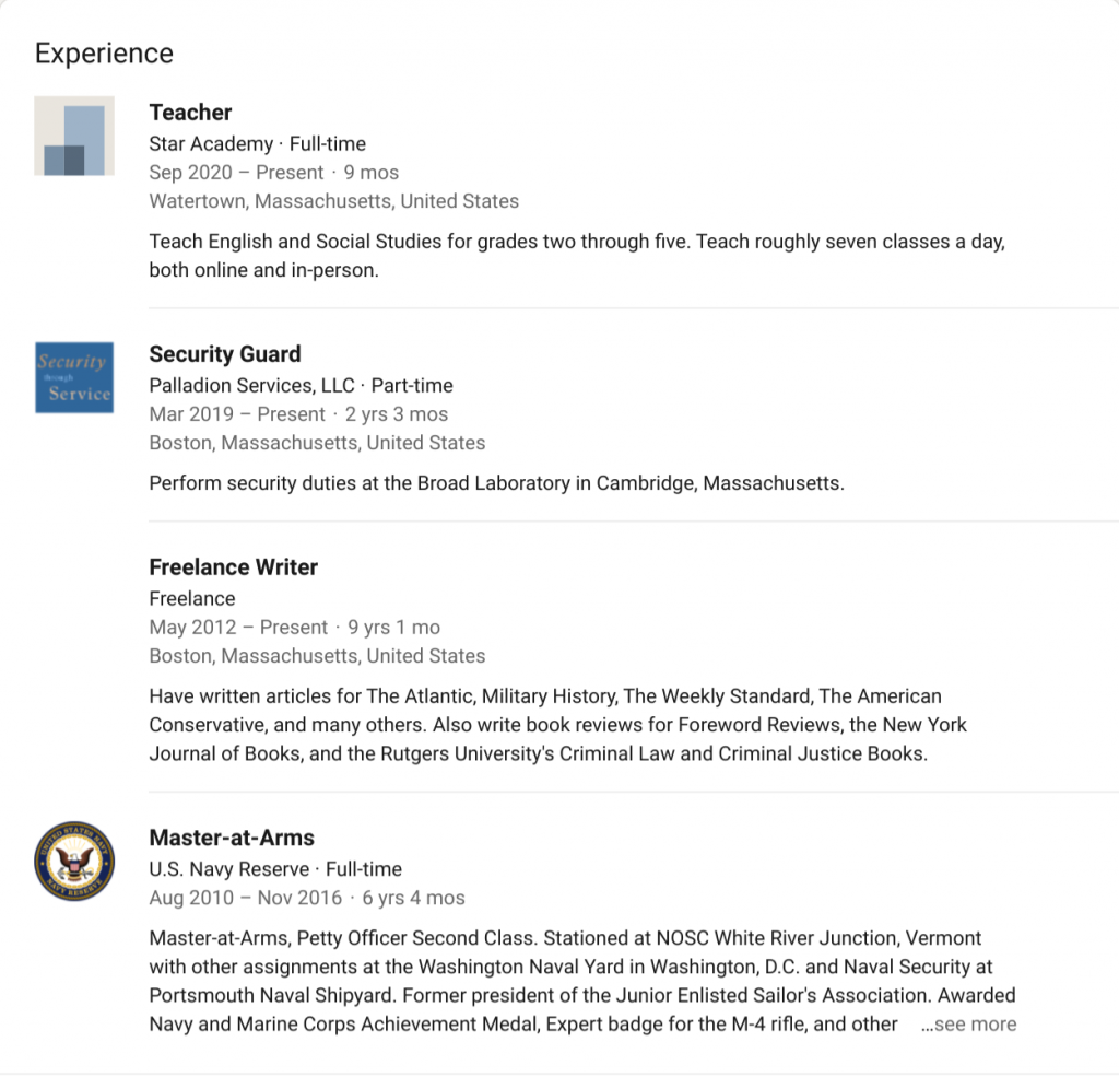 Work experience on Benjamin Welton's public LinkedIn profile.