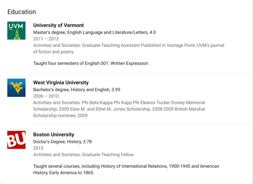 Educational experience on Benjamin Welton's public LinkedIn profile.