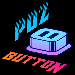 """Logo for """"The Poz Button"""" podcast."""
