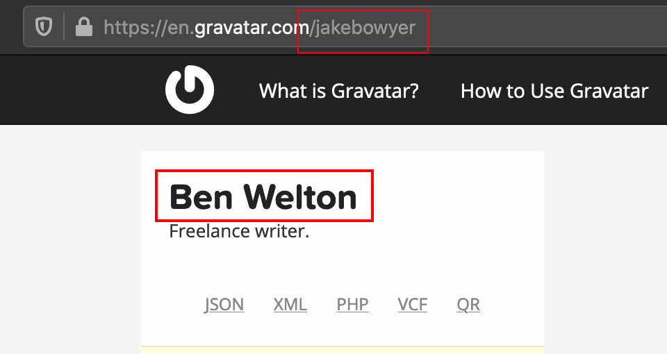 """The URL says """"jakebowyer""""; the page says """"Ben Welton"""""""