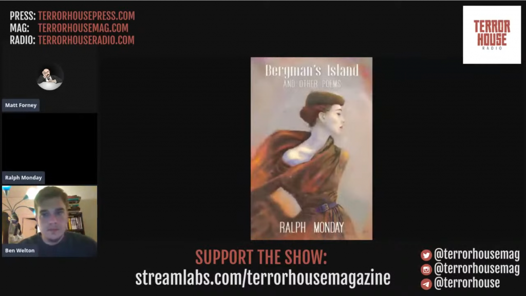 Another screenshot from the same Terror House Radio livestream, as it appeared on YouTube, with Ben Welton's name (bottom-left) more visible.