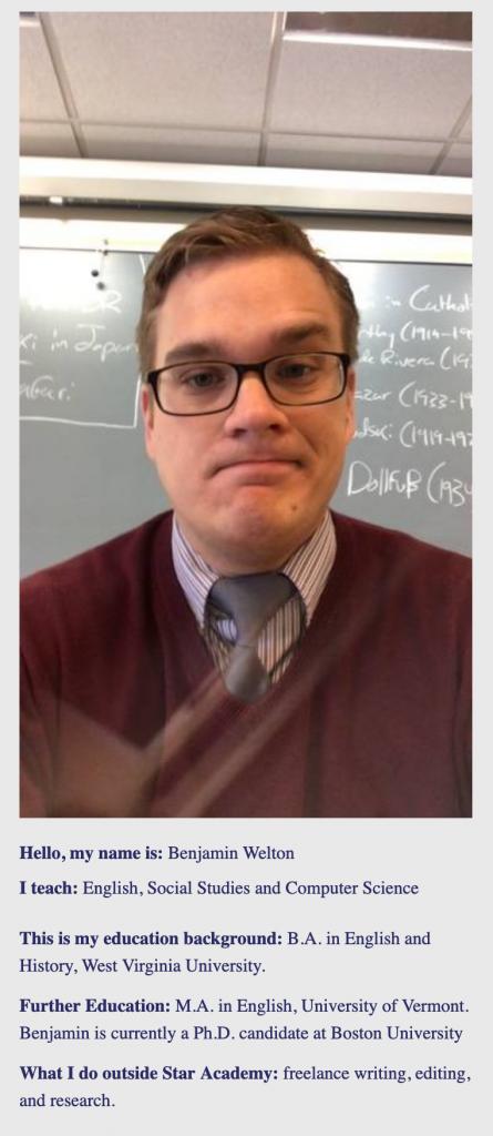Benjamin Welton's teacher profile at the Star Academy in Boston.