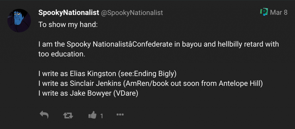"""""""SpookyNationalist"""" lists the pen names he uses in a post on poa.st [link]"""