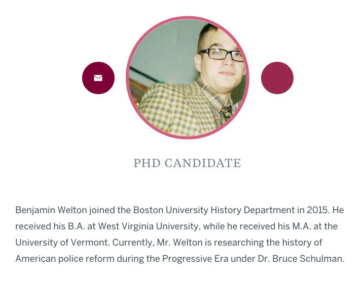 Screenshot of Benjamin Welton's Boston University public profile page.