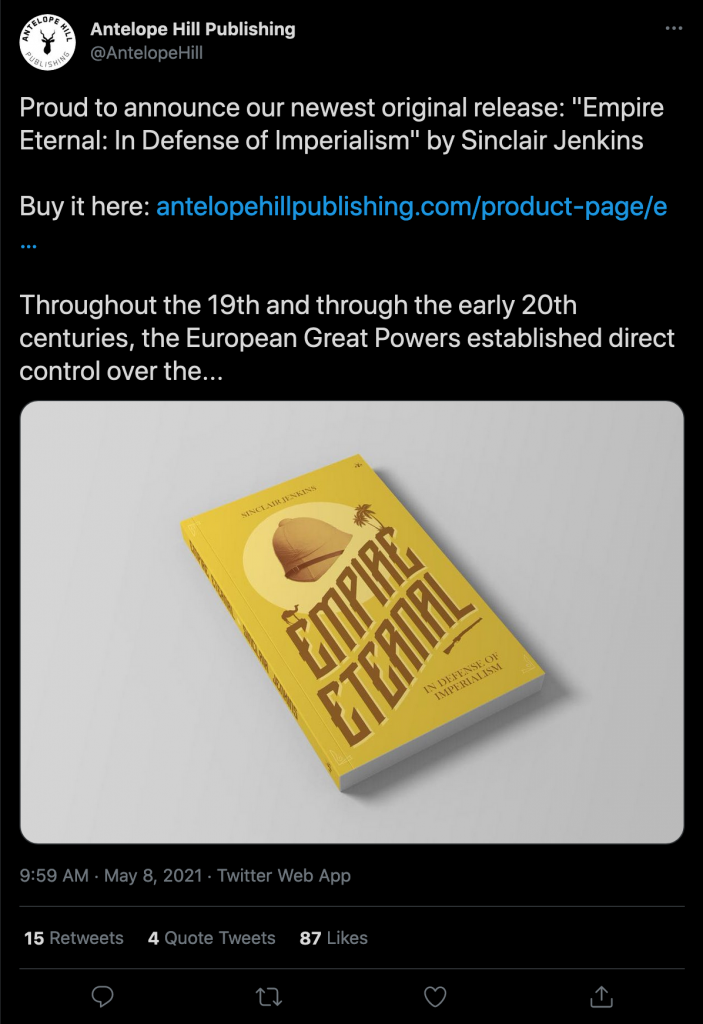 Announcement of book release on Antelope Hill Publishing's Twitter timeline.Announcement of book release on Antelope Hill Publishing's Twitter timeline.
