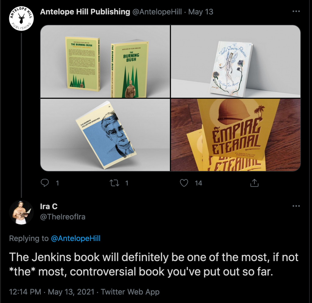 """Twitter: """"The Jenkins book will definitely be one of the most, if not *the* most, controversial book you've put out so far."""""""