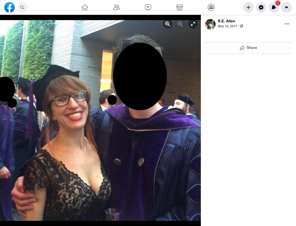 """Rachel Elizabeth Carter's Facebook post under her previous married surname """"Allen."""""""