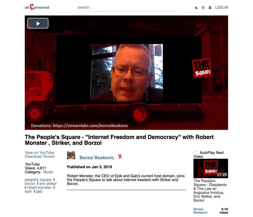 """Episode of """"The People's Square."""" Robert Monster, CEO of Nazi-friendly domain name registrar Epik makes a guest appearance"""