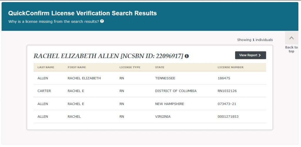 Rachel Elizabeth Carter's nursing licenses in several states, some under a previous married name.