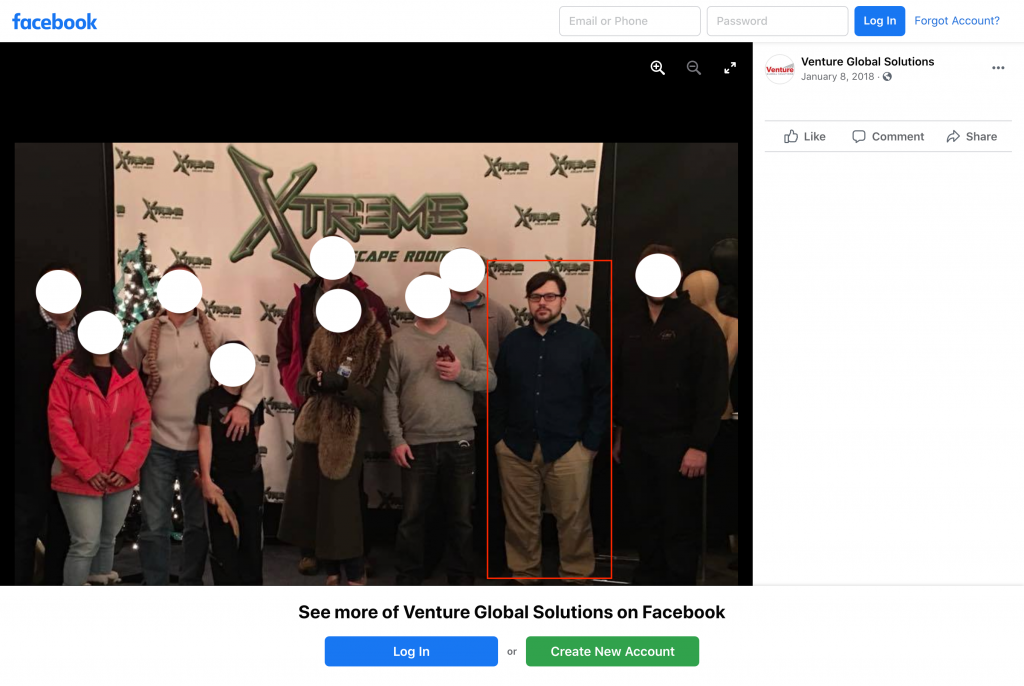 Post from Venture Global Solutions' public Facebook page (redacted; Ogden outlined in red box)
