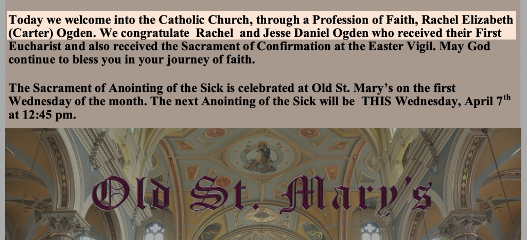 From the April 4, 2021 edition of Detroit's Old St. Mary church.