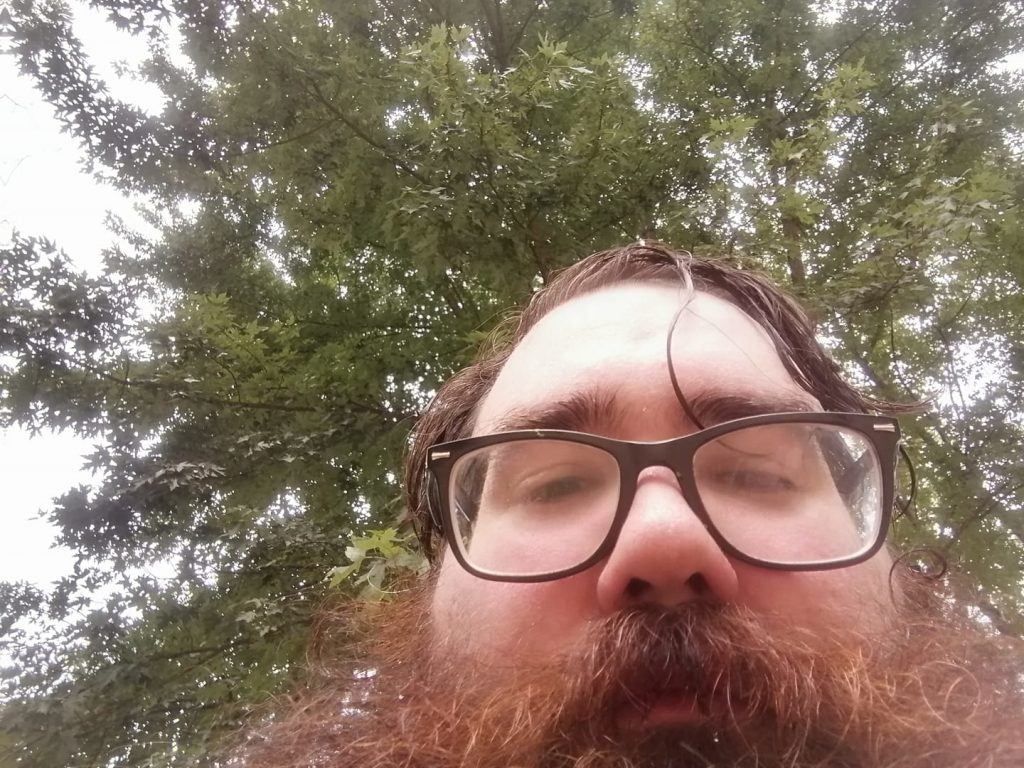 Up-nose view of beared Matthew Marvin Distler of Cleves, Ohio