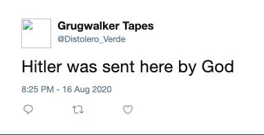 "Racist tweet from one of ""Distolero""'s suspended Twitter accounts."