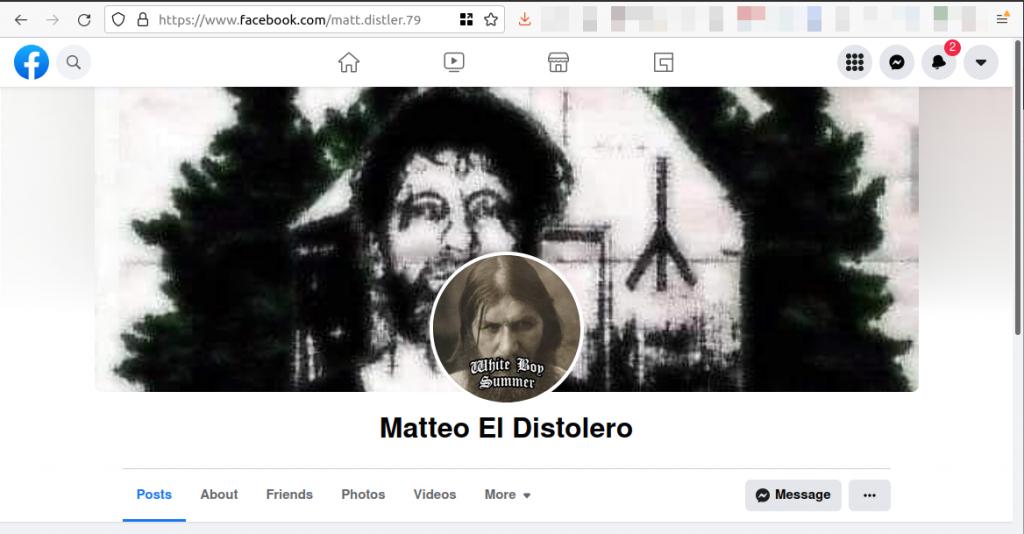 """matt.distler.79"" appears in the URL of ""Matteo El Distolero""'s Facebook profile."