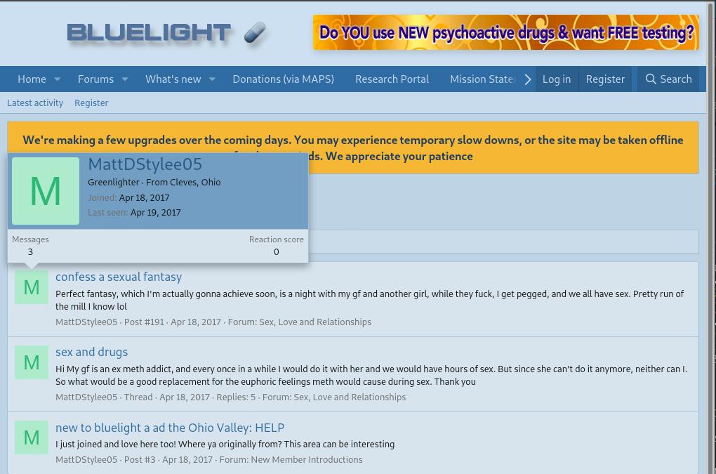 Screenshot of a post by Distler on bluelight.org.