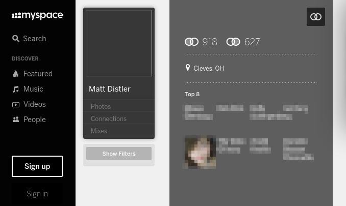 Matthew Marvin Distler's Myspace profile as it currently looks.