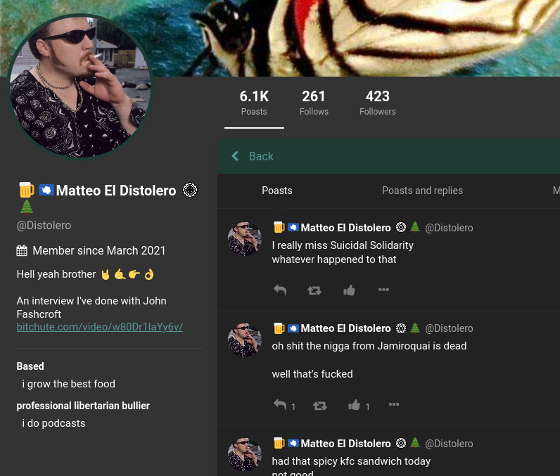 """""""Distolero"""" often uses an image of """"Ricky"""" from the TV show Trailer Park Boys for his profile pic."""