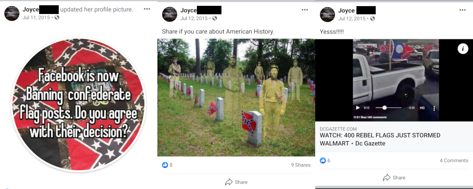 Images posted by Distler's mother on her Facebook page supporting the Confederacy.